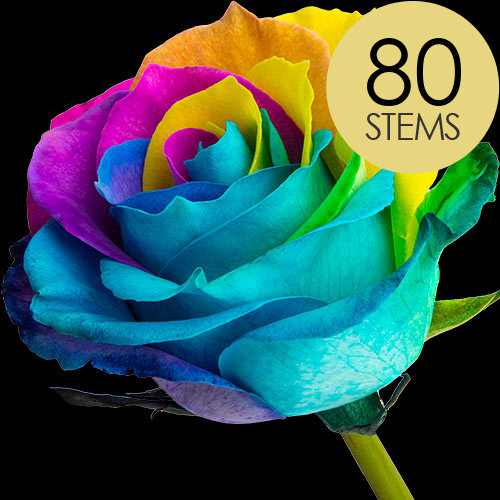 80 Happy (Rainbow) Roses