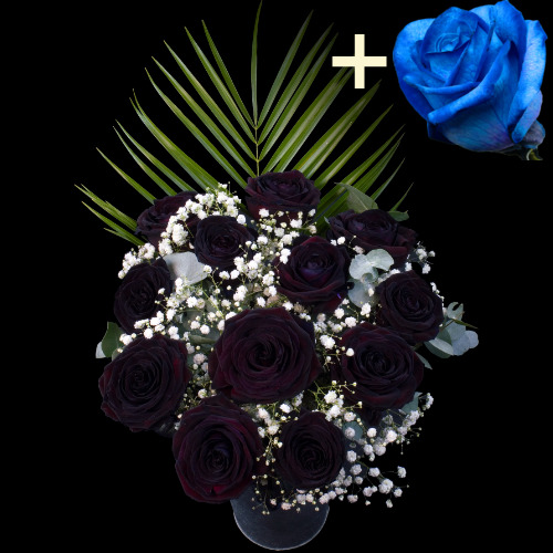11 BLACK and 1 BLUE Luxury Rose Bouquet