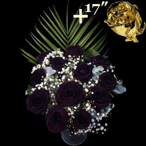 A single 17Inch Gold Dipped Rose surrounded by 11 Black Roses