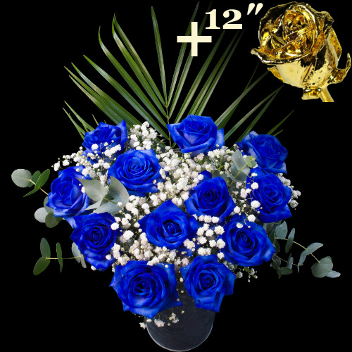 11 BLUE and 1 12Inch Gold Dipped Luxury Rose Bouquet