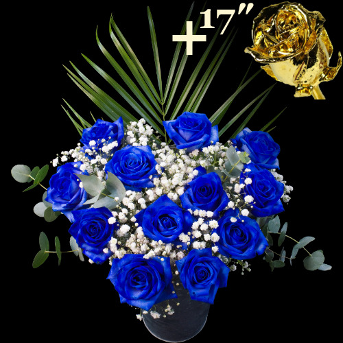11 Blue Roses and a 17Inch Gold Dipped Rose
