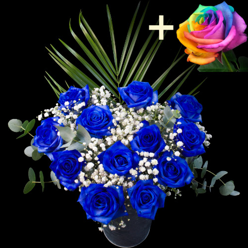 11 Blue Roses and a Happy Rose