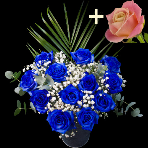 11 Blue Roses and a Peach Rose