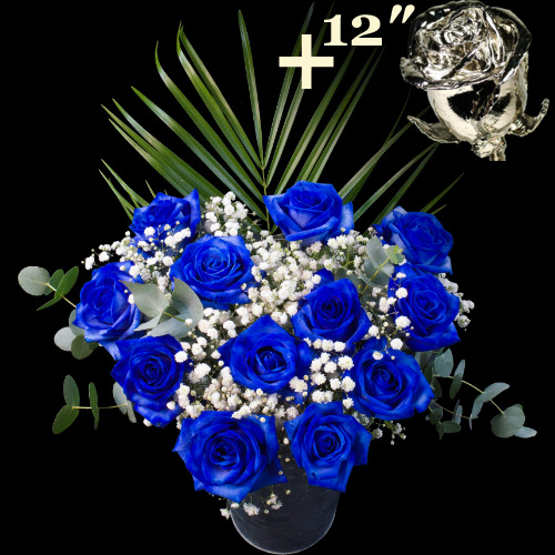 11 BLUE and 1 12Inch Platinum Dipped Luxury Rose Bouquet