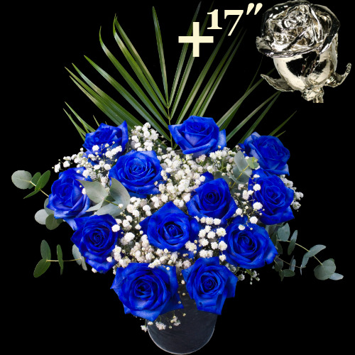 A single 17Inch Platinum Dipped Rose surrounded by 11 Blue Roses