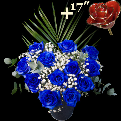 11 Extra Luxury Blue and single 17Inch Gold Trimmed Red Rose Bouquet