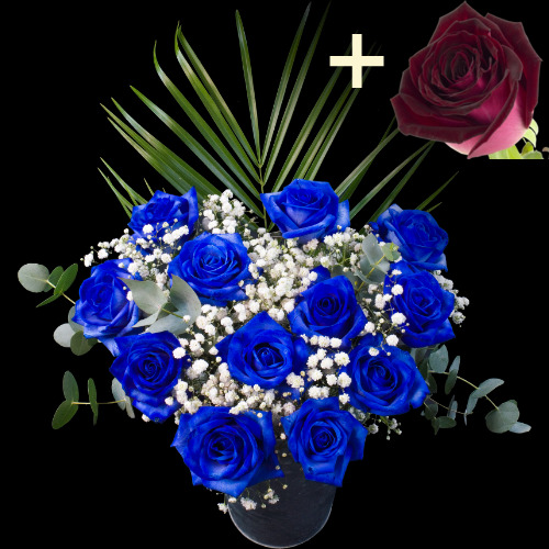 11 BLUE and 1 RUBY RED Luxury Rose Bouquet