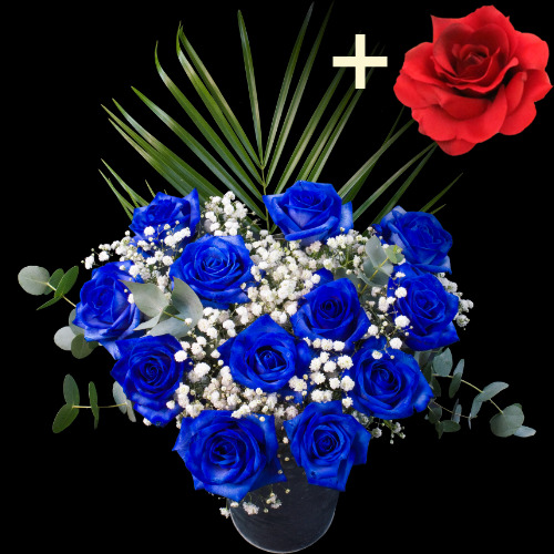 11 Blue Roses and a Red Silk Rose