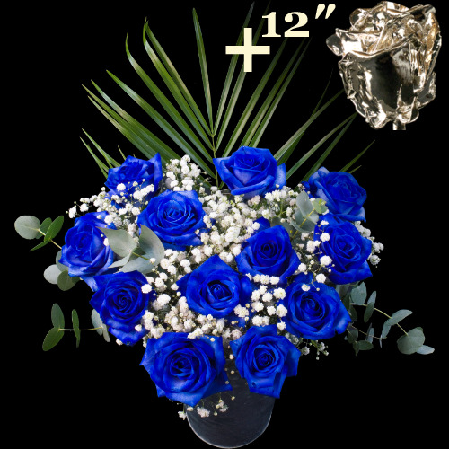 11 BLUE and 1 12Inch Silver Dipped Luxury Rose Bouquet