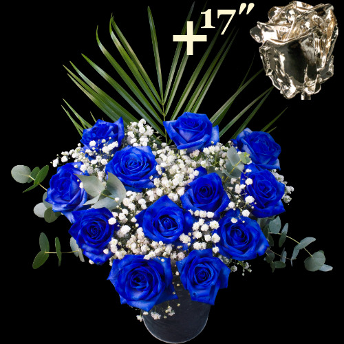 A single 17Inch Silver Dipped Rose surrounded by 11 Blue Roses