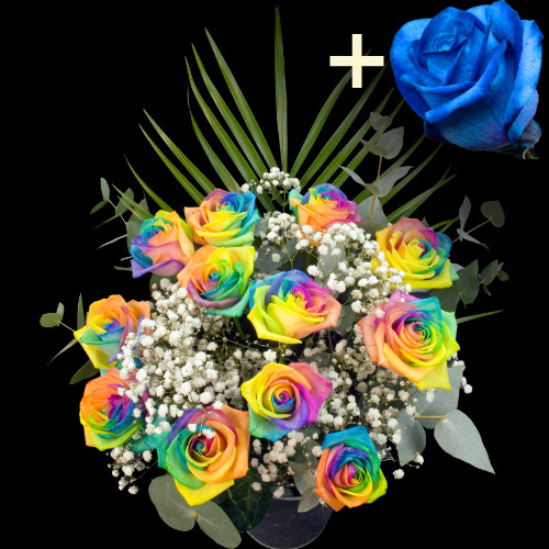 11 HAPPY and 1 BLUE Luxury Rose Bouquet
