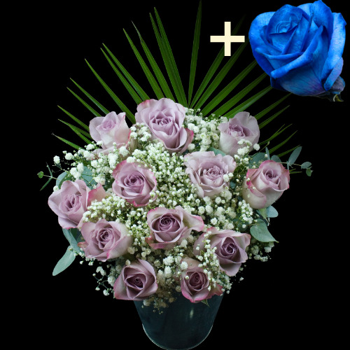 A single Blue (Dyed) Rose surrounded by 11 Lilac Roses