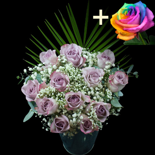 A single Happy (Rainbow) Rose surrounded by 11 Lilac Roses