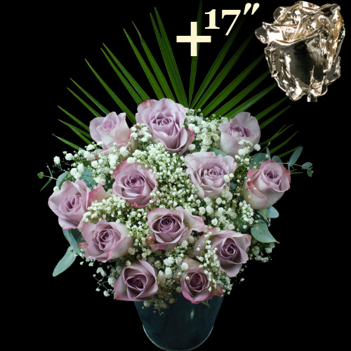 A single 17Inch Silver Dipped Rose surrounded by 11 Lilac Roses