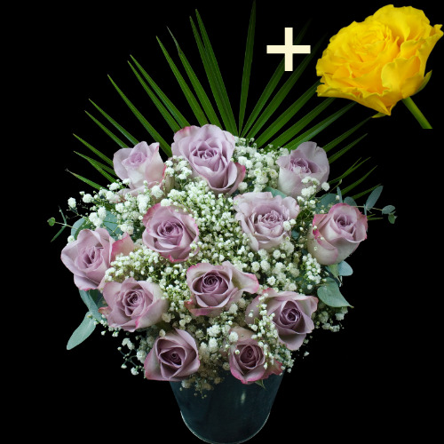 A single Yellow Rose surrounded by 11 Lilac Roses