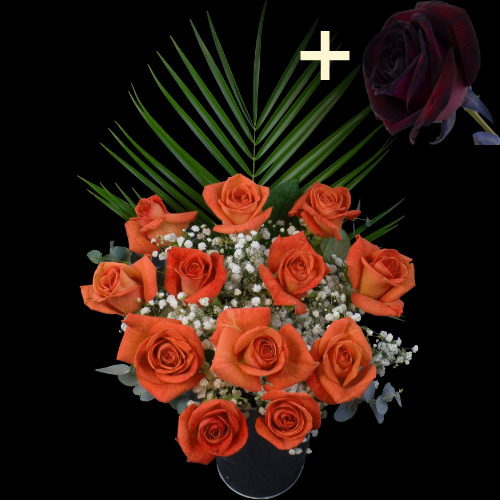 A single Black Rose surrounded by 11 Orange Roses