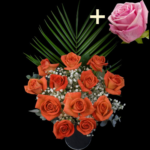A single Pink Rose surrounded by 11 Orange Roses