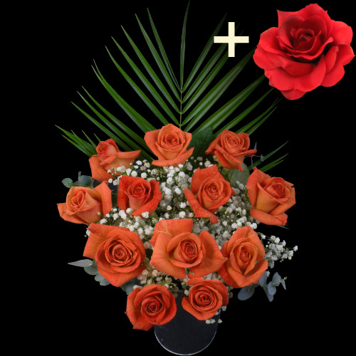 A single Red Silk Rose surrounded by 11 Orange Roses