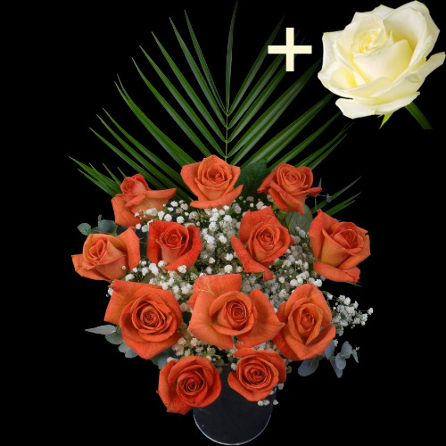 A single White Rose surrounded by 11 Orange Roses