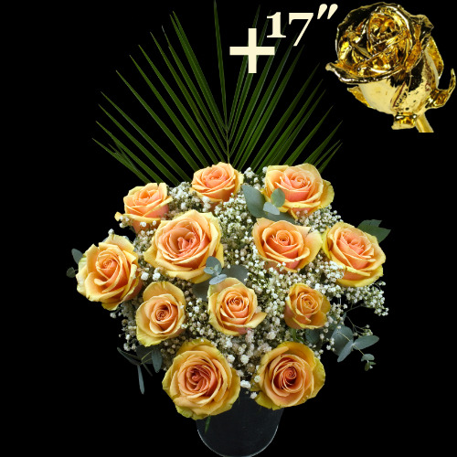 11 Peach Roses and a 17Inch Gold Dipped Rose