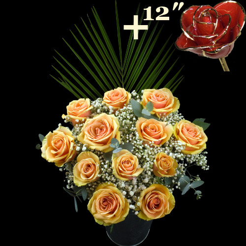 11 Peach Roses and a 12Inch Gold Trimmed Red Rose
