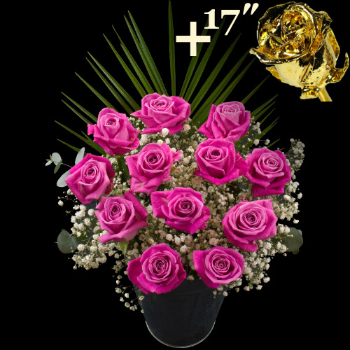 11 PINK and 1 17Inch Gold Dipped Luxury Rose Bouquet