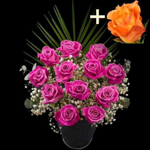 A single Orange Rose surrounded by 11 Pink Roses