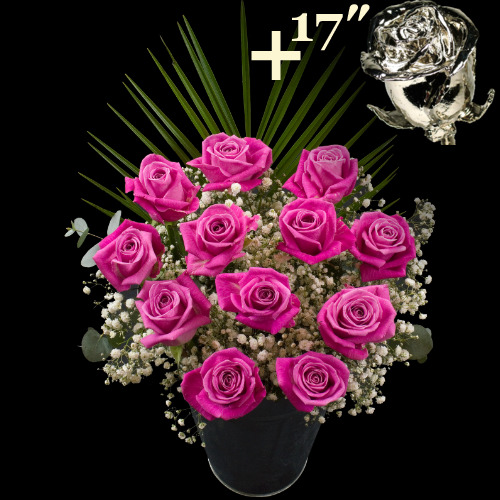 A single 17Inch Platinum Dipped Rose surrounded by 11 Pink Roses