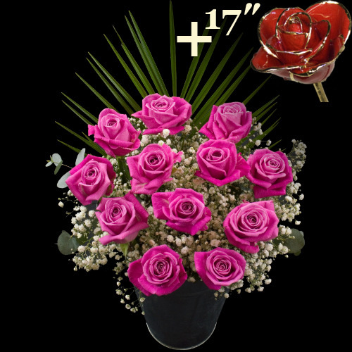 11 Pink Roses and a 17Inch Gold Trimmed Red Rose