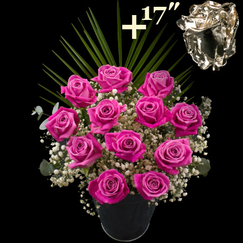 A single 17Inch Silver Dipped Rose surrounded by 11 Pink Roses
