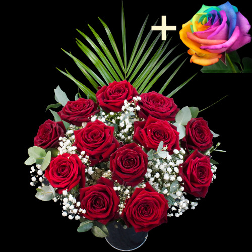 A single Happy Rainbow Rose surrounded by 11 Deep Red Naomi Roses