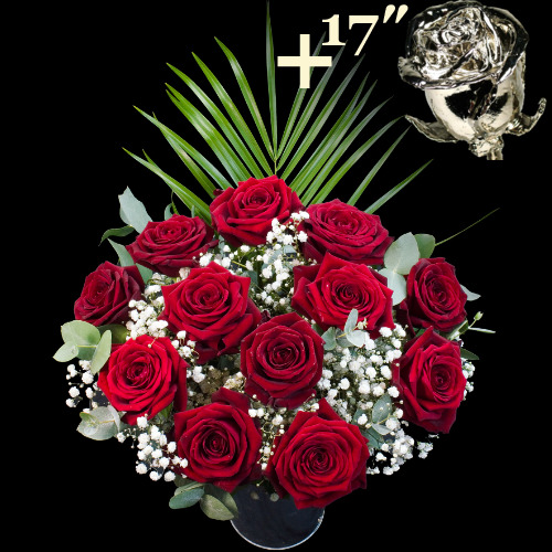 A single 17Inch Platinum Dipped Rose surrounded by 11 Deep Red Explorer Roses