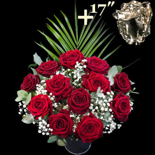 A single 17Inch Silver Dipped Rose surrounded by 11 Deep Red Naomi Roses