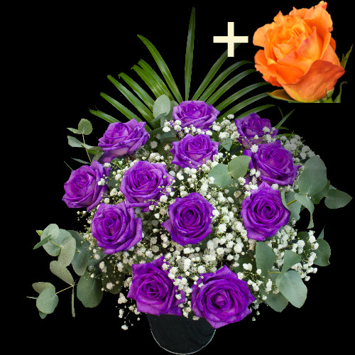 A single Orange Rose surrounded by 11 Purple Roses