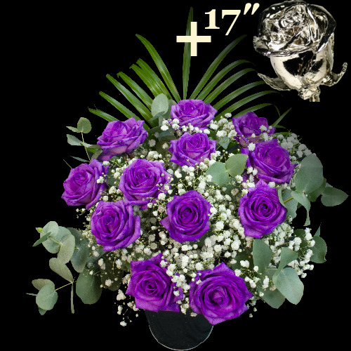 A single 17Inch Platinum Dipped Rose surrounded by 11 Purple Roses