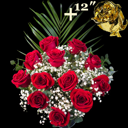 11 Red Roses and single 12Inch Gold Dipped Rose
