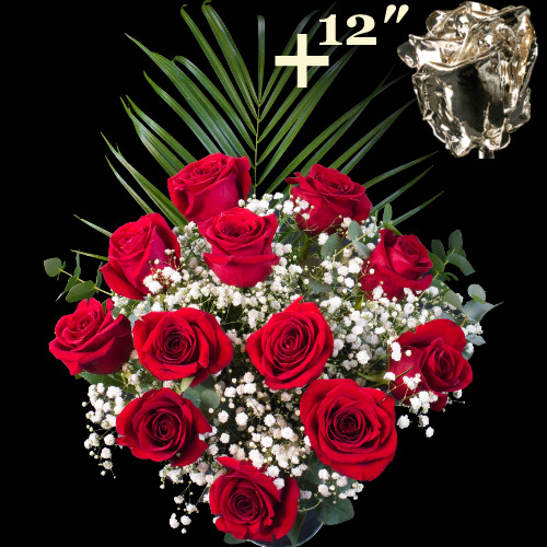 11 Extra Luxury Red and single 12Inch Silver Dipped Rose Bouquet