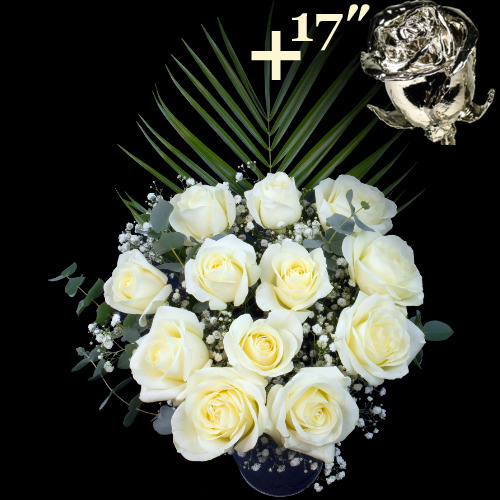 A single 17Inch Platinum Dipped Rose surrounded by 11 White Roses