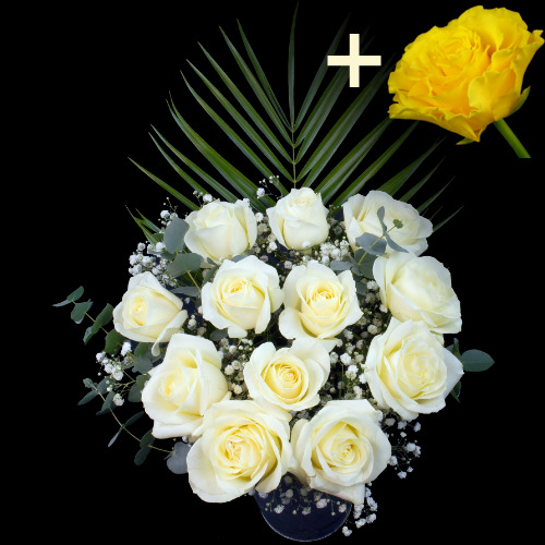 11 White Roses and a Yellow Rose