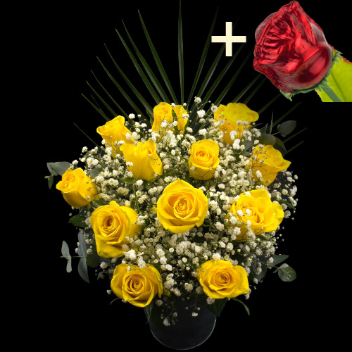 A single CHOCOLATE Rose surrounded by 11 Yellow Roses