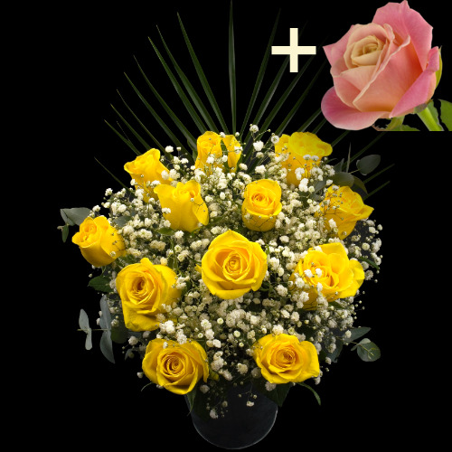 11 Yellow Roses and a Peach Rose