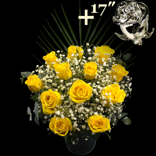 11 Yellow Roses and a 17Inch Platinum Dipped Rose