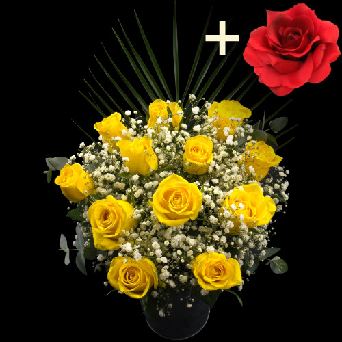 A single Red Silk Rose surrounded by 11 Yellow Roses