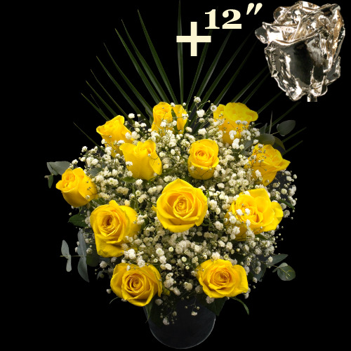 11 Yellow Roses and a 12Inch Silver Dipped Rose