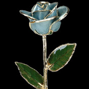 A Light Blue 17Inch Gold Trimmed Rose