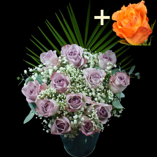 A single Orange Rose surrounded by 11 Lilac Roses