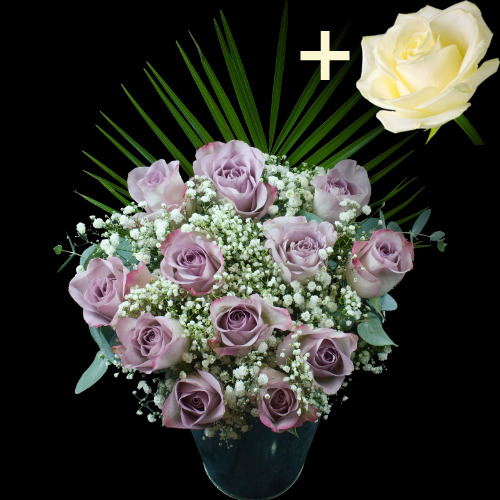A single White Rose surrounded by 11 Lilac Roses