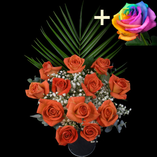 A single Happy Rainbow Rose surrounded by 11 Orange Roses