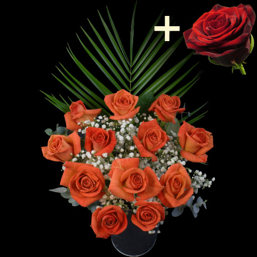 A single Red Rose surrounded by 11 Orange Roses