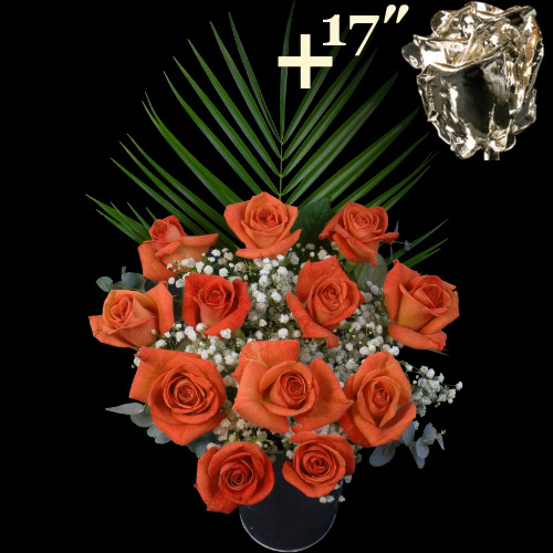 A single 17Inch Silver Dipped Rose surrounded by 11 Orange Roses
